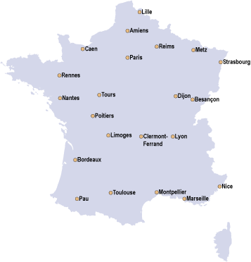 Carte de France des implantations 2016 et suivantes